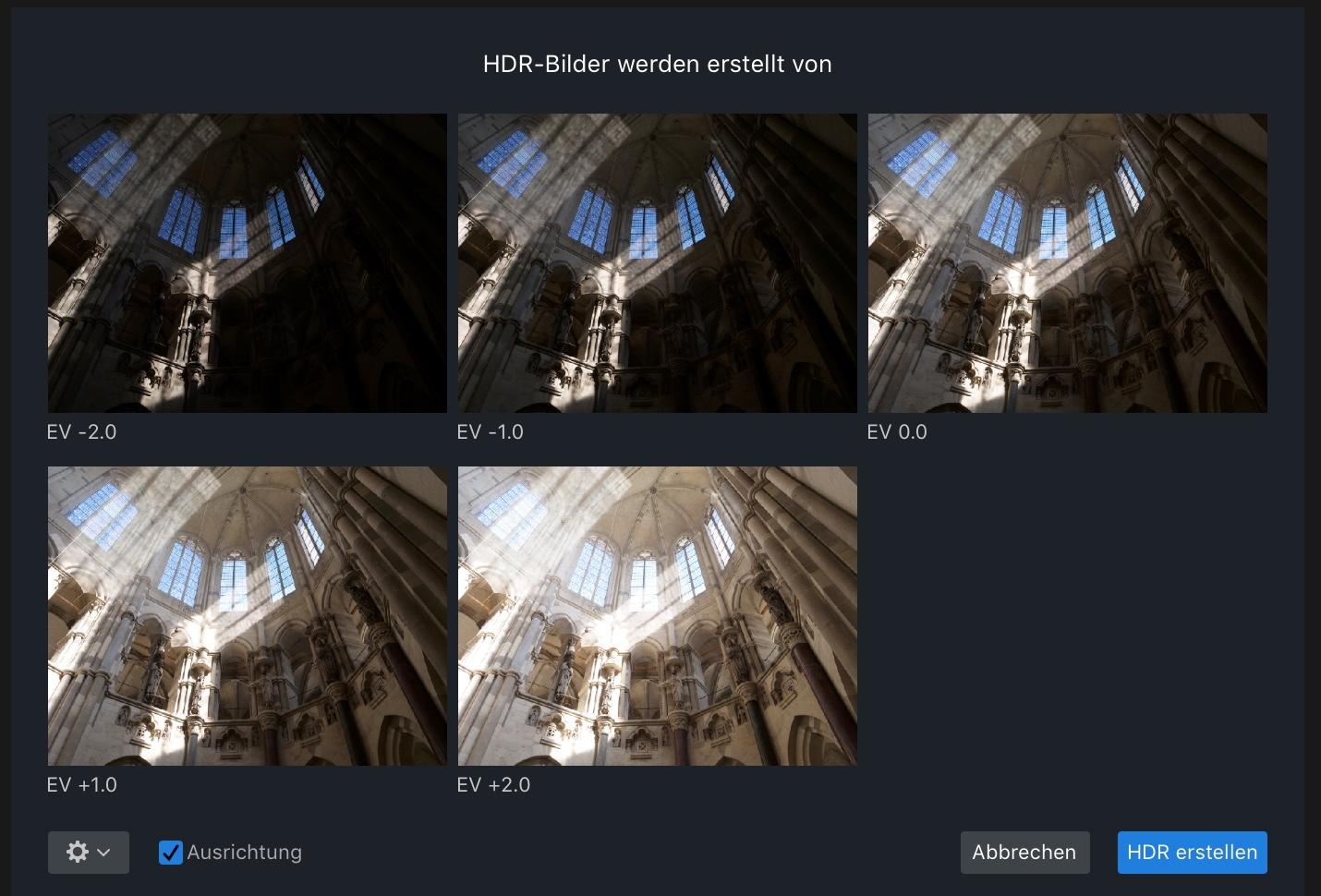 Belichtungsreihe aus fünf Bildern