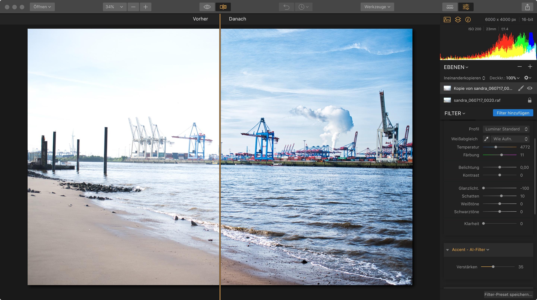 Ebenen Bildbearbeitung vorher nachher Vergleich mit Luminar