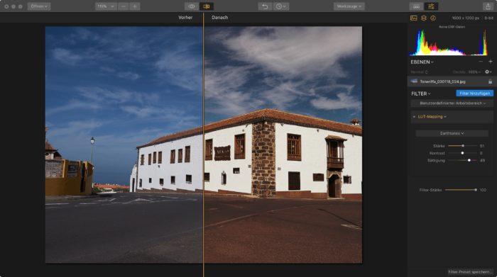 LUT Bildbearbeitung vorher nachher Vergleich mit Luminar