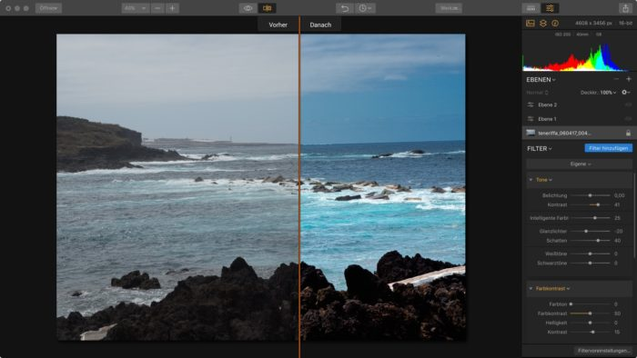 RAW Bildbearbeitung vorher nachher Vergleich mit Luminar