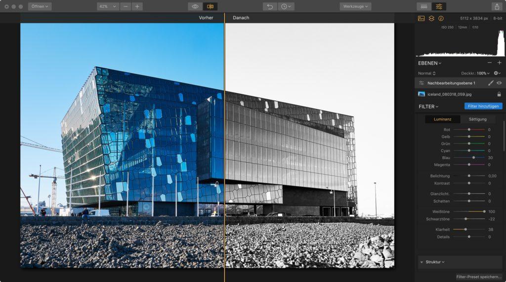SW Bildbearbeitung vorher nachher Vergleich mit Luminar