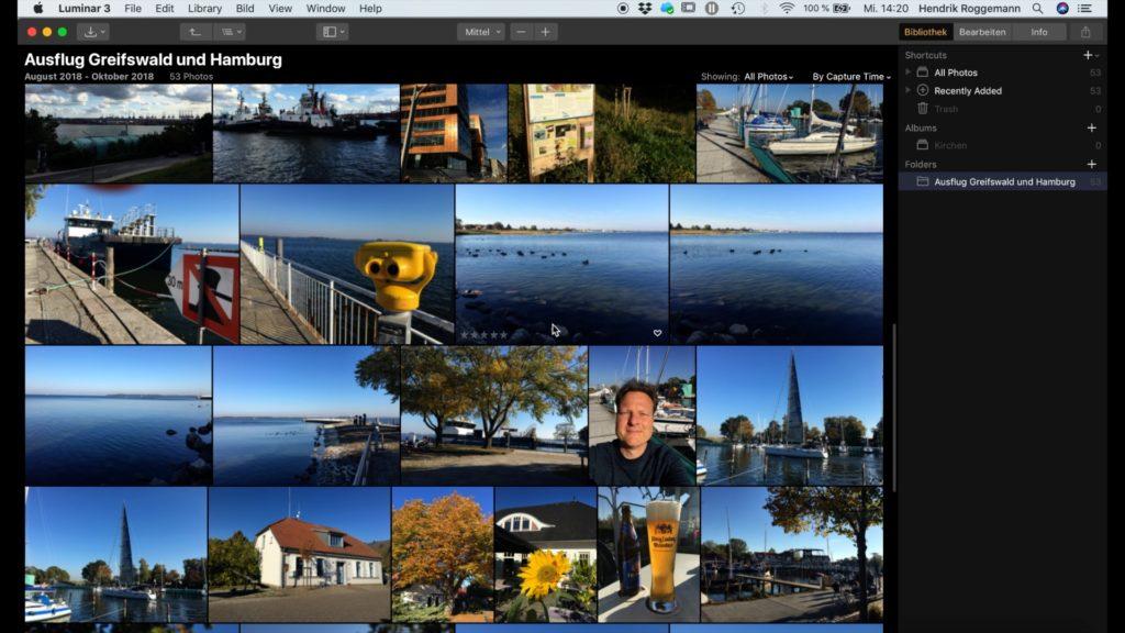 Screenshot Bildbearbeitung mit Luminar 3 Die Bildverwaltung