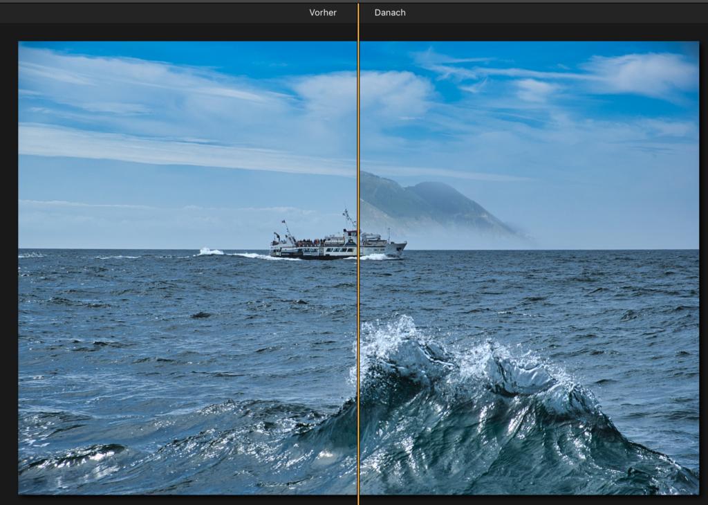 Fotomontage mit Luminar einfach erstellen mit Schiff vor Insel vorher nachher Vergleich