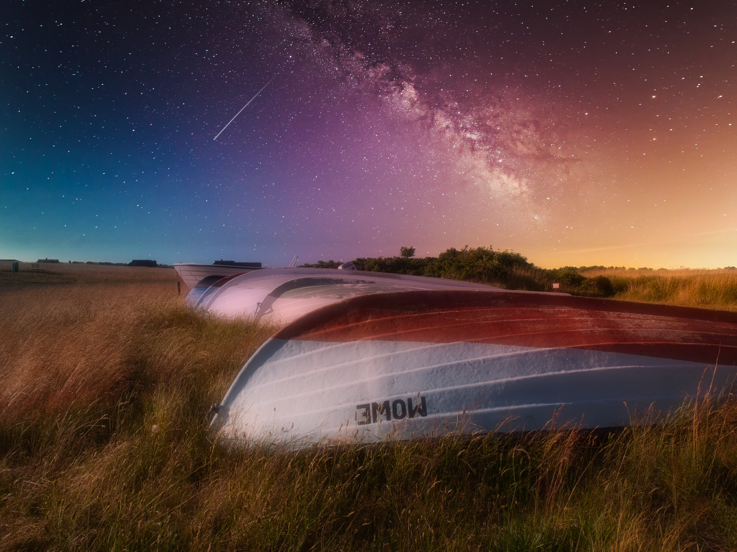 Luminar 4 lernen am Beispiel mit Fischerboot und Nachthimmel mystisch