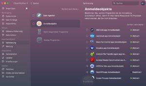 CleanMyMac Anmeldeobjekte
